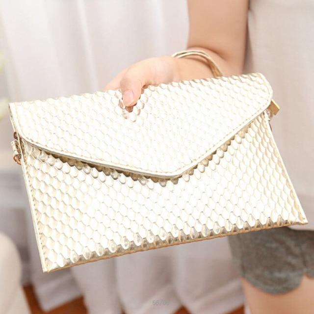 PU Leather Clutch Lady Evening Handbag