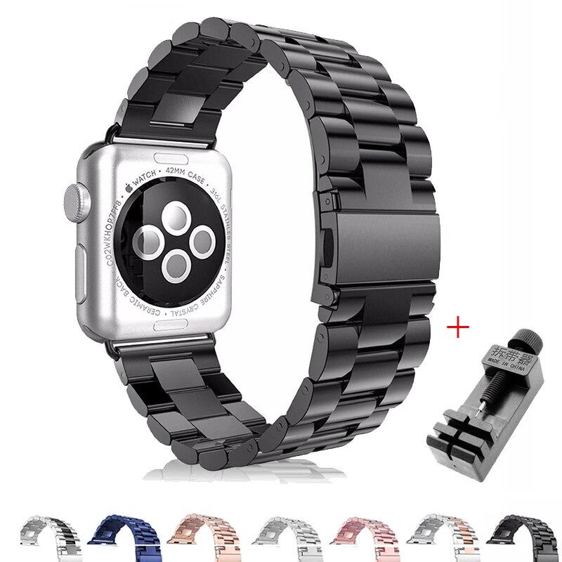 Für Apple Uhr Band 4 3 2 38 40 42mm 44mm Sport Edelstahl Uhr Strap Link-Armband adapter Band für iWatch mit werkzeug