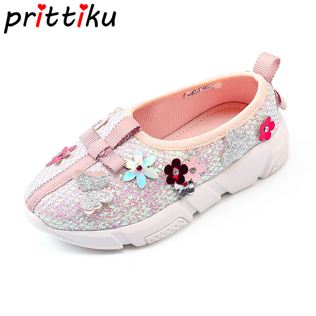 c617004a759 Spring 2018 Toddler Girls Glitter Sequin Flower Rhinestone Sneakers Little  Kid Brand Fashion Loafers Big Children