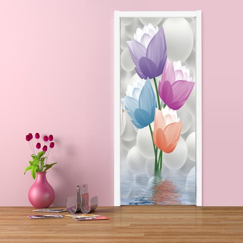 Door Wall Paper 3D Vector Flowers Wall Painting Photo Wallpaper Murals Waterproof Self Adhesive
