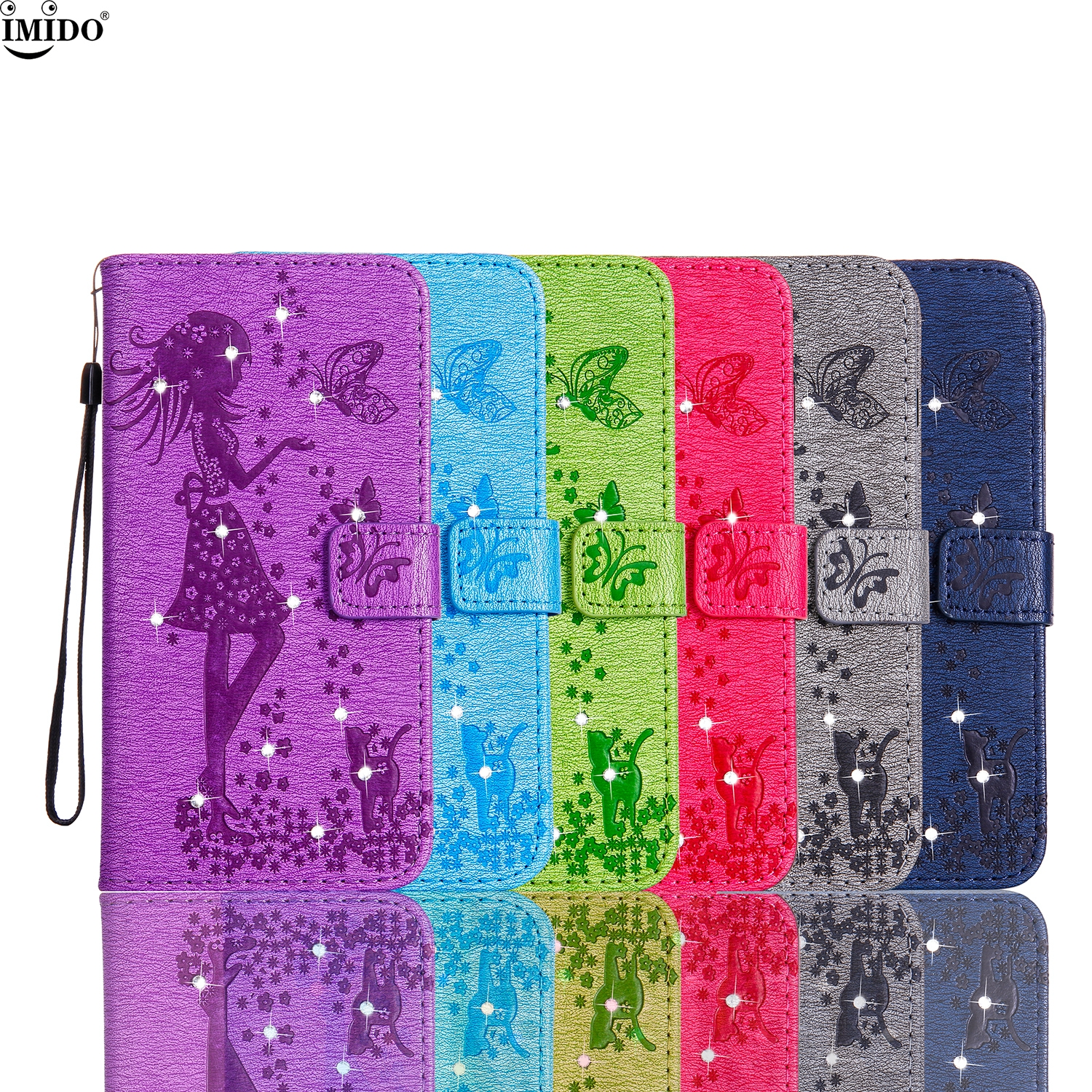For Galaxy J7 prime G610M Cover Case SM-G610F 5.5 SamSung J7 prime Bag Rhinestone wallet Flip Case for Galaxy j7prime box