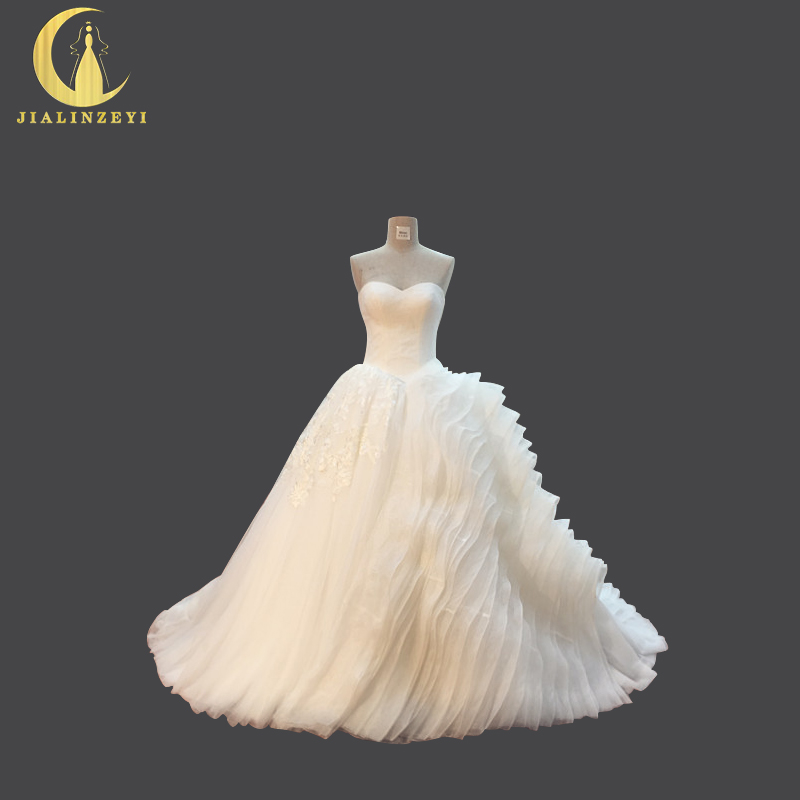 JIALINZEYI Sexy Sweetheart Lace Top With Organza Ruffle Ball Gown Real Pictures Bridal Wedding Dresses Wedding Gown 2019