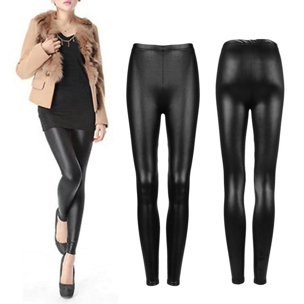 Black Faux PU Leather Leggings Women's Skinny Pencil Pants Trousers Slim Fit Bodycon Stretchy Elastic Slim Legging