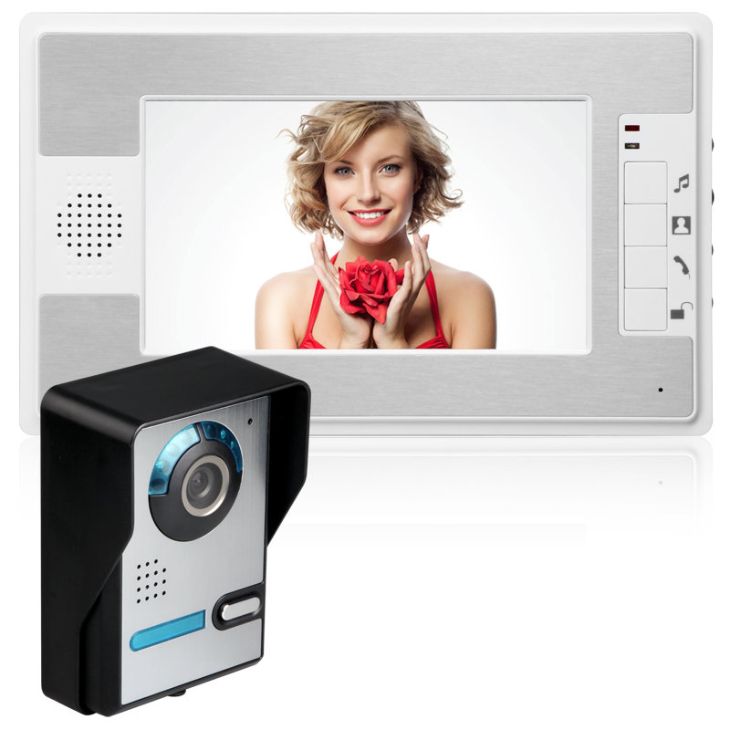 7 Inch Video Door Phone Doorbell Intercom Kit 1-camera 1-monitor Night Vision With IR-CUT HD 700TVL Camera