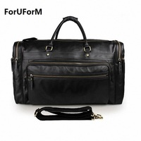 Luxury First Layer Cowskin men's travel bags Vintage Brand Genuine Leather handbag Big men Business Luggage bag 2017 New LI-1270