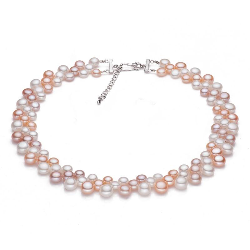 3 rækker naturlige ferskvands choker multi lag perle halskæder - Smykker - Foto 2