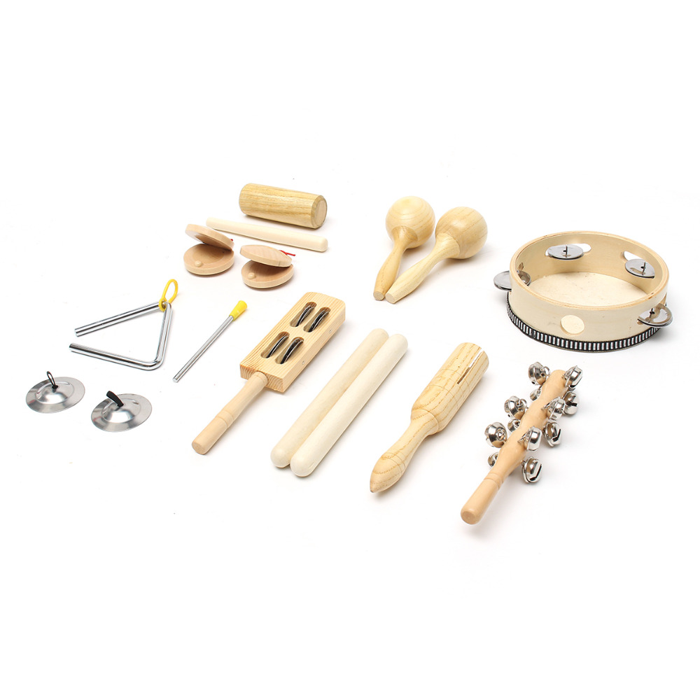 10pcs/Set Wooden Percussion Toddler Toys Band Kit Early Educational Drum With Bag For Kid Children