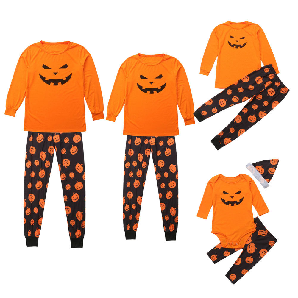 family kids adult matching halloween pajamas pj's set outfit pumpkin