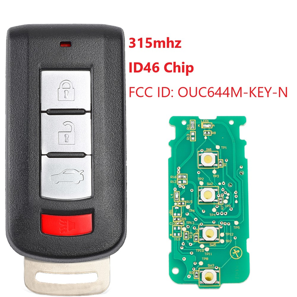 3 + 1 кнопки 315 МГц дистанционный ключ для автомобиля для Mitsubishi Mirage Outlander 2013 2014 2015 2016 FCC ID OUC644M KEY N