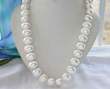 """Hand knotted charming 16x19mm white color egg shell pearl necklace 18\"""" fashion jewelry"""