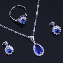 Alluring Blue Cubic Zirconia White CZ 925 Sterling Silver Jewelry Sets For Women Earrings Pendant Chain Ring V0329 alluring oval blue cubic zirconia 925 sterling silver ring for women v0419