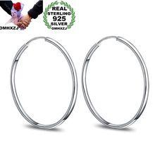 OMHXZJ Wholesale Personality Fashion OL Woman Girl Party Wedding Silver Simple Round 925 Sterling Hoop Earrings YE422