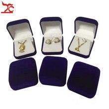 60 قطعة موضة أسود/أحمر/أزرق 4 اللون المتاحة سدت مجوهرات الزفاف المخملية القرط صندوق تخزين قلادة مسمار علبة هدايا