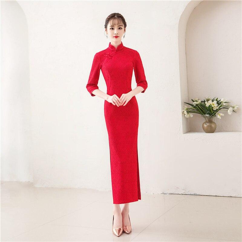 Femmes élégantes chinois nouvel an robe Vintage rouge mince longue Qipao mariée asiatique robe de mariée dentelle Cheongsam robes