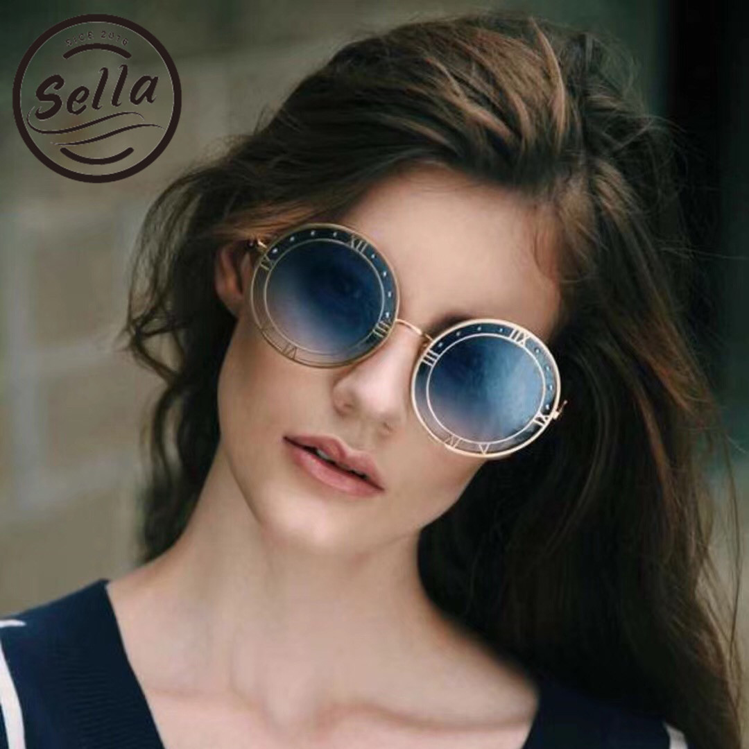 2018 Sella New Fashion Women Men Retro Round Clock Sunglasses Brand Designer Gradient Lens Alloy Frame Sun Glasses Eyewear Frame