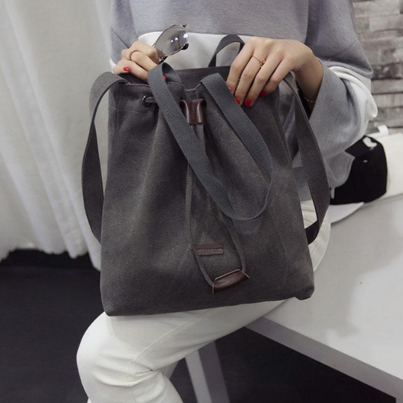 Canvas Handbag Shoulder Bag Bucket Tote Bags Drawstring Crossbody Messenger Bag