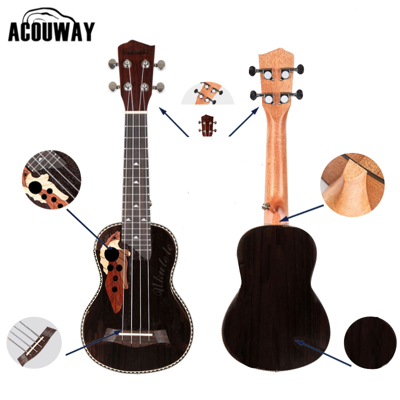 Acouway Ukulele Soprano Concert Ukulele 21 23 rosewood uku Ukelele with Aquila String mini Hawaii guitar Musical Instruments ukulele bag case backpack 21 23 26 inch size ultra thicken soprano concert tenor more colors mini guitar accessories parts gig