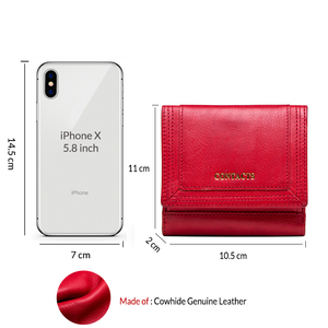 Image 3 - 100% Genuine Leather Women Wallets Short Coin Purse Card Holder Female Money Bag High Quality Mini Walet Small Carteira Feminina