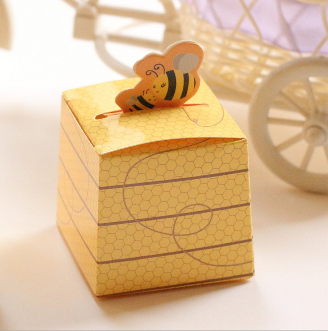 100pcs european style cartoon yellow bee baby shower candy boxes children birthday party return present gifts