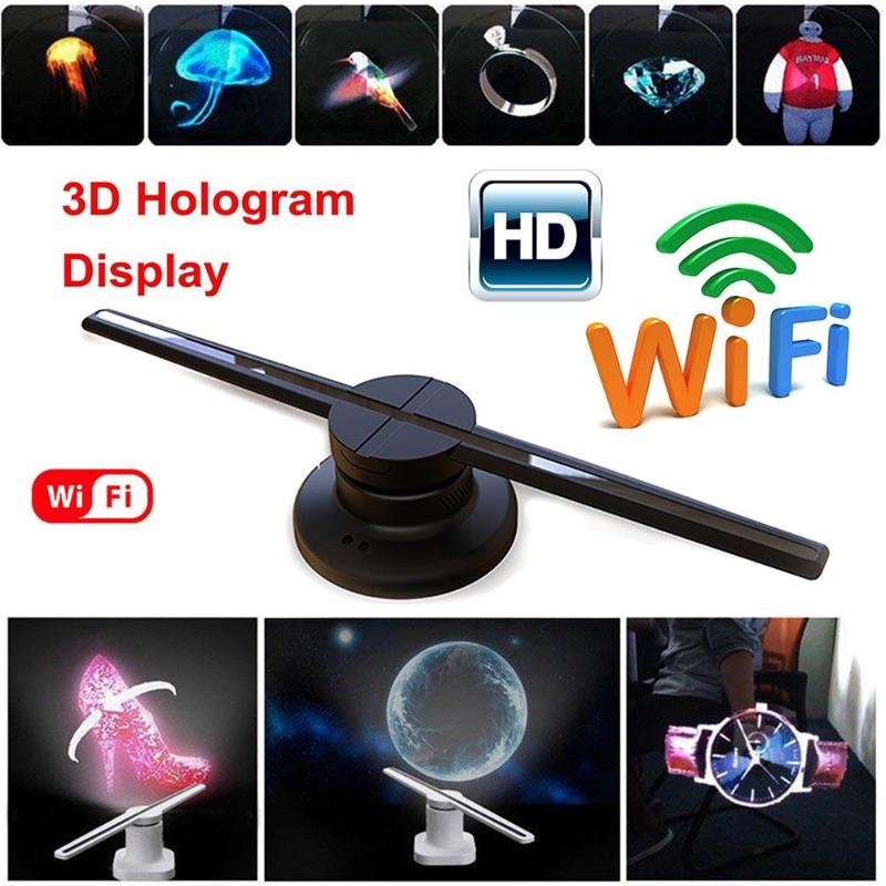 3D WIFI Remote 320 LED Holographic Projector Hologram Player Holographic Display Fan Advertising Light US EU
