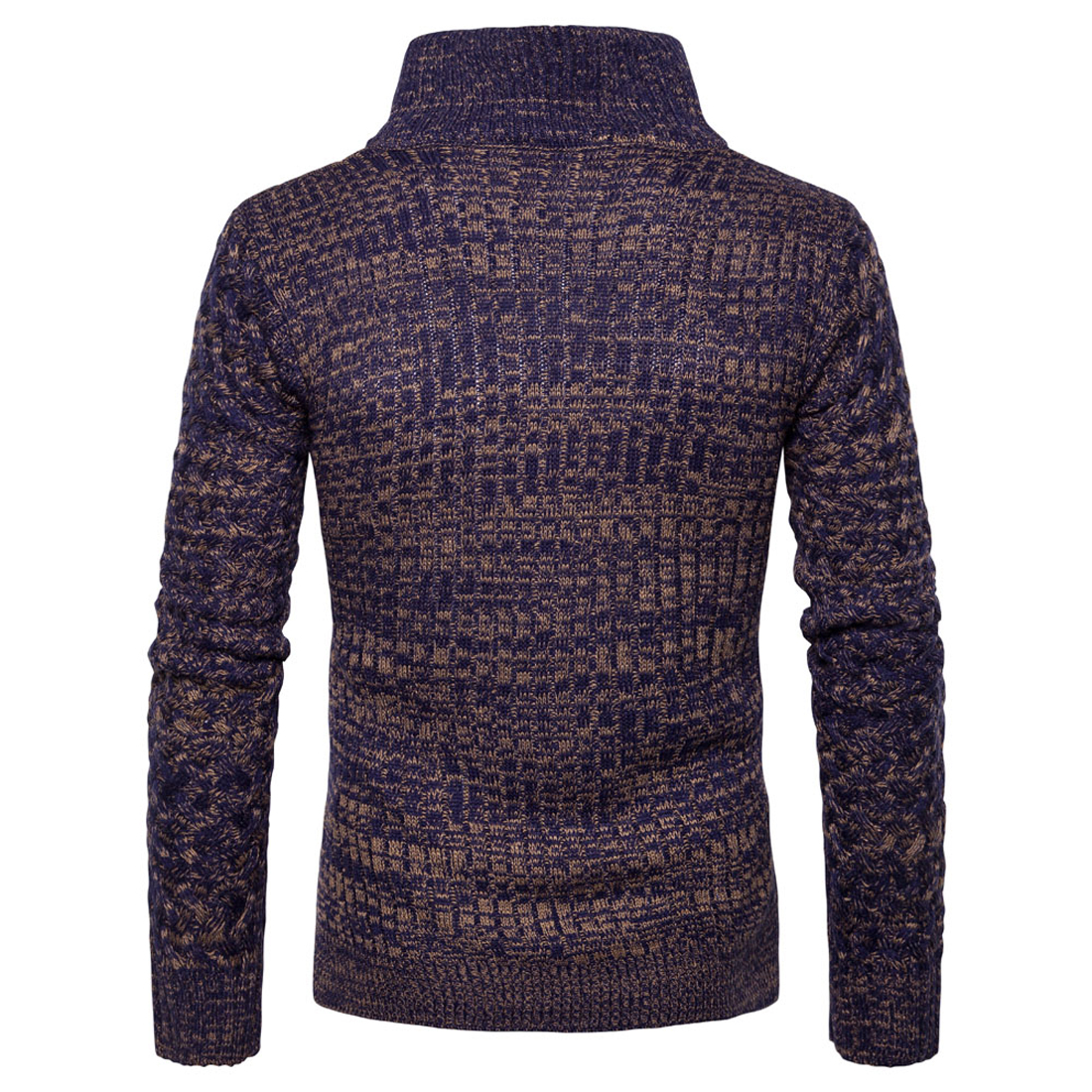 Brand Mens Sweater Zip Up Cardigan Turtleneck Knitted Winter Warm ...