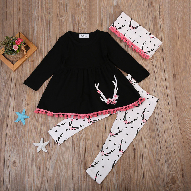 0-5T New Style Baby Girls Clothes Cute Long Sleeve Dress Tops+Pants+Scarf 3PCS Outfits Girls Clothing Set