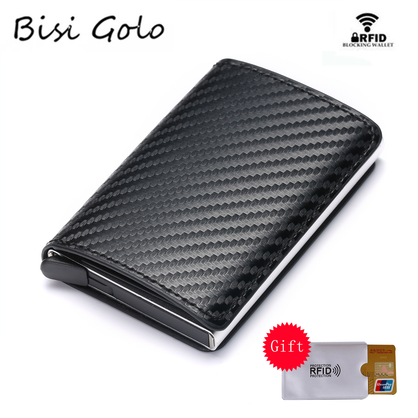 BISI GORO Aluminum Box Credit Card Wallets RFID Blocking High Quality Slim Card Holders Solid Colorful Mini Wallet Wholesale