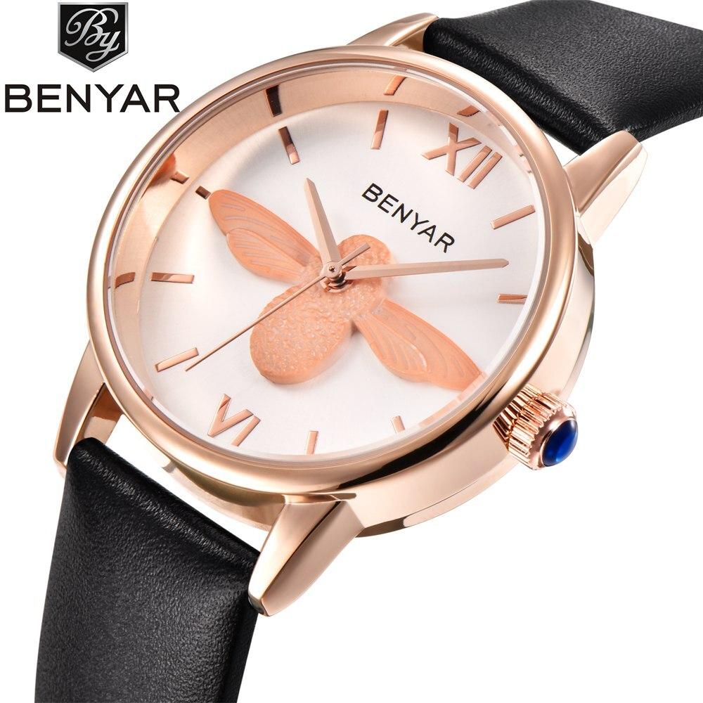 Benyar Ladies Fashion Bee Watch Women Quartz Leather Rose Gold Watches Women Girl Female Clock relogio