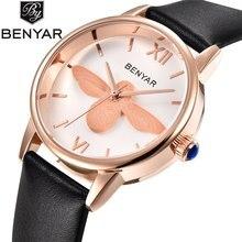 Benyar Abeja Señoras de La Manera Reloj de Cuarzo de Las Mujeres de Piel de Oro Rosa Relojes de Las Mujeres de La Muchacha Mujer Reloj relogio feminino reloj mujer
