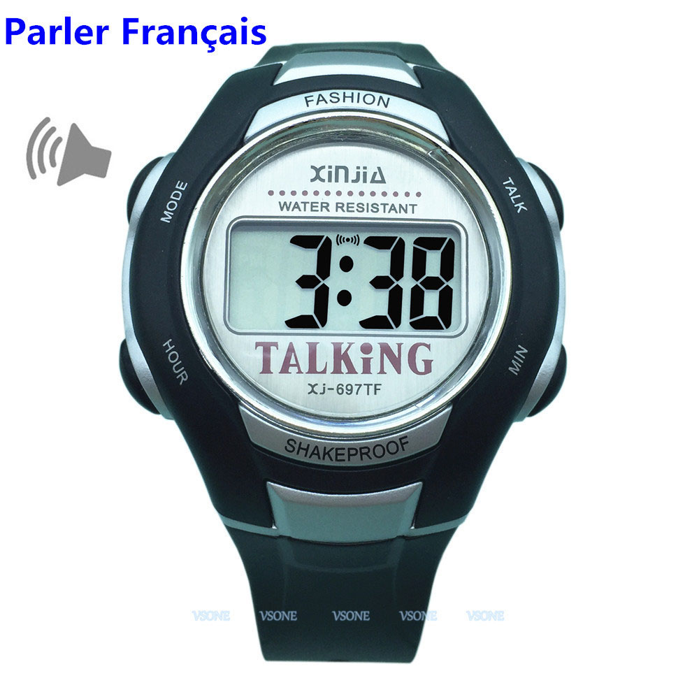 French Talking Watch Big Voice For Blind People Quartz Alarm Clock все цены