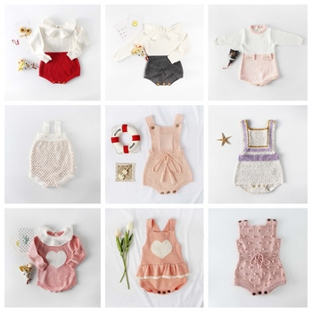 Ins Fashion Toddler Baby Girls Rompers Crochet Candy Color Ruffles Love Knitted Floral Rompers Spring Autumn Winter Baby Clothes