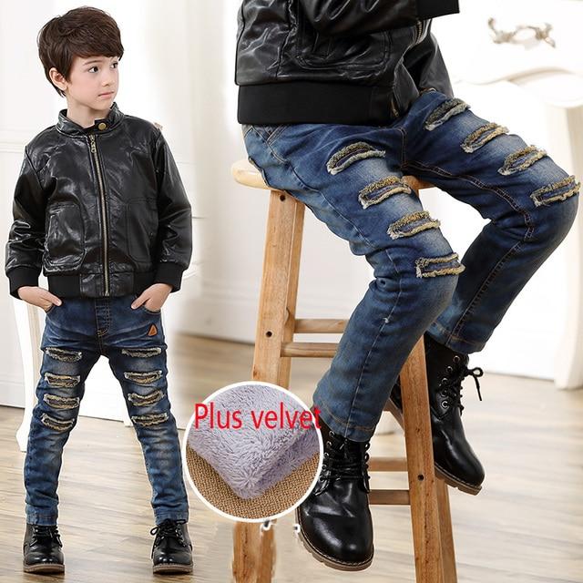 Отверстие зимние джинсы дети мальчик джинсы и флис ТЕМНО-СИНИЙ ПОВСЕДНЕВНЫЕ брюки брюки для мальчиков ребенок твердые теплые новый 2016