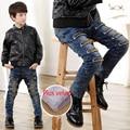 Buraco calças de brim de inverno crianças calças de brim menino denim e velo AZUL MARINHO calça CASUAL calças meninos criança sólida quente novo 2016