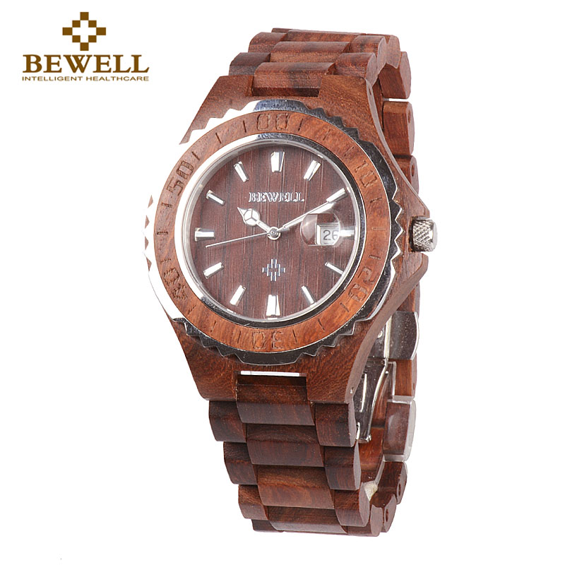 BEWELL W100BG Wood Watch Men Analog Display Auto Date Quartz Mens Watches Top Brand Luxury Water Resistant Wristwatch Gift Box 80cm chain rome retro double display hollow pocket watch fob watches men necklace quartz watch men s watches grandpa letter gift