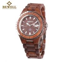 BEWELL Luxury Wood Quartz Watch Men Analog Calendar Display Boys Watches Waterproof Wristwatch Mens Relogio Masculino