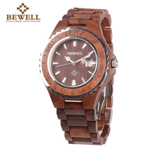 BEWELL Wood Watch Men Analog Display Date Relogio Masculino Quartz  Mens Watches Top Brand Luxury Waterproof Wristwatch 100BG