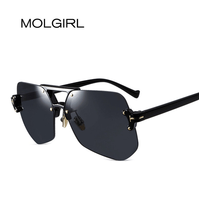 7135f14c01bc MOLGIRL New Rimless Sunglasses Gradient Classic Optics Metal Frame Women  Men UV400 Vintage Sun Glasses Frame Retro Oversized