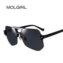MOLGIRL New Rimless Sunglasses Gradient Classic Optics Metal Frame Women Men UV400 Vintage Sun Glasses Frame Retro Oversized