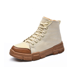 MIUBU Hot Winter Men Canvas Boots Fashion Warm Fur Cowboy Motorcycle Footwear Casual Snow Lace-up Shoes