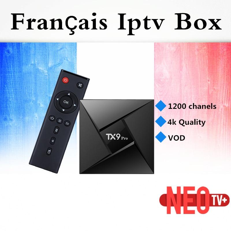 TX9 PRO IPTV box android tv box best French Arabic Belguim iptv 1200 channels Amlogic s912  Android 7.1 3G RAM 32G ROM tv box iptv evpad pro