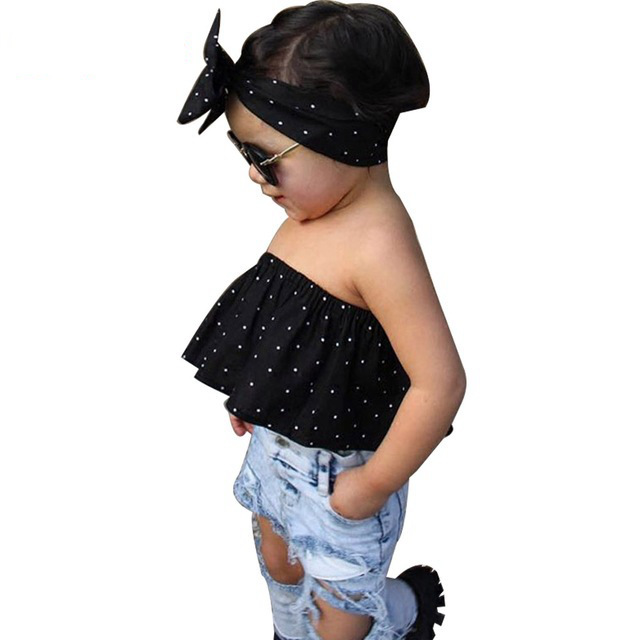 78c7e7f17fd 2018 New Summer Porter Kids Haute Couture Tops Headband + Torn Jeans Girls  Apparel Ensemble Hole Boys Clothes Boy Friend Style