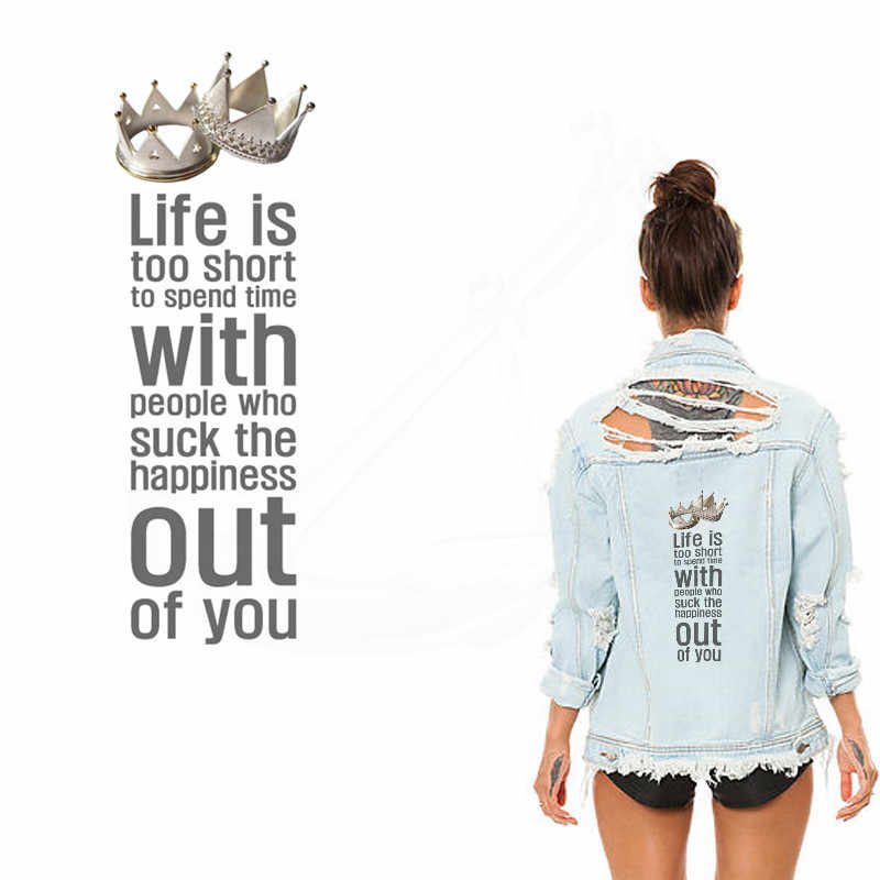 LEVEN IS TE KORT Patch voor kleding 30*10.5 cm Inspirational quotes ijzer op flarden Diy kind T-shirt thermische transfer sticker