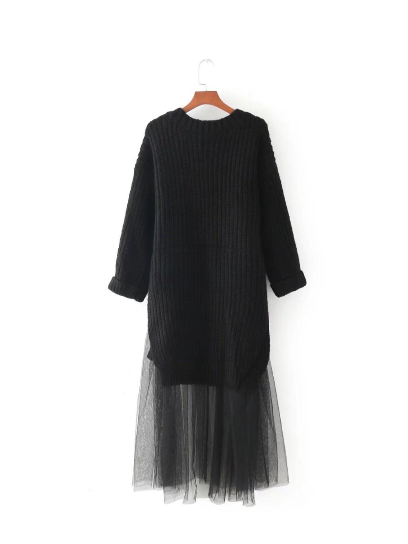Online Shop Fashion women Black Cardigan Sweater Patchwork Mesh ...