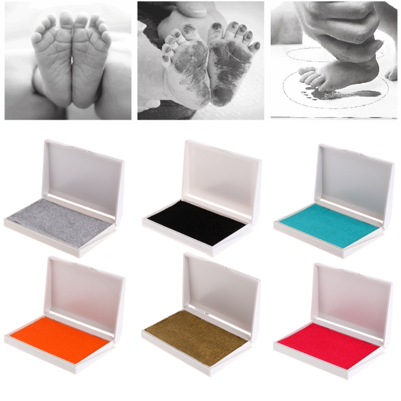 1Set Children Hands Foot Print Ink Pad Painting Colorful Stamper Baby Craft Souvenir-M15 ...