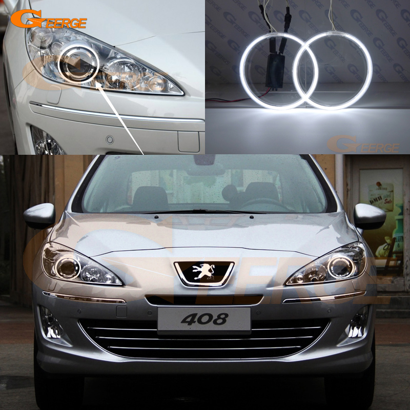 For Peugeot 408 2010 2011 2012 2013 projector headlight Excellent Ultra bright illumination CCFL Angel Eyes kit Halo Ring