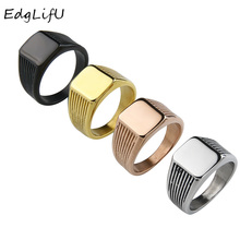 EdgLifU Mens Silver Ring Band Simple Geometric Rings Black Plating Stainless Steel Good Polished Jewelry for Men Gift