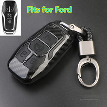 Carbon Car Key Case Cover for 2015 2016 FORD FUSION MONDEO MUSTANG F-150 LINCOLN EDGE EXPLORER MK 4 button Car Styling(China)