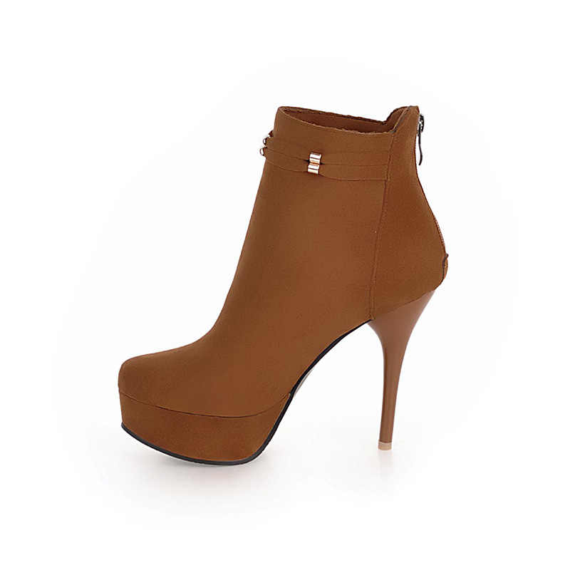 JK Büyük Boy 32-48 Stiletto Topuklu Kadın Çizmeler Yuvarlak Ayak Akın Bayan Ayakkabıları Kristal Kauçuk Sonbahar Zip Ayakkabı platform bileğe kadar bot