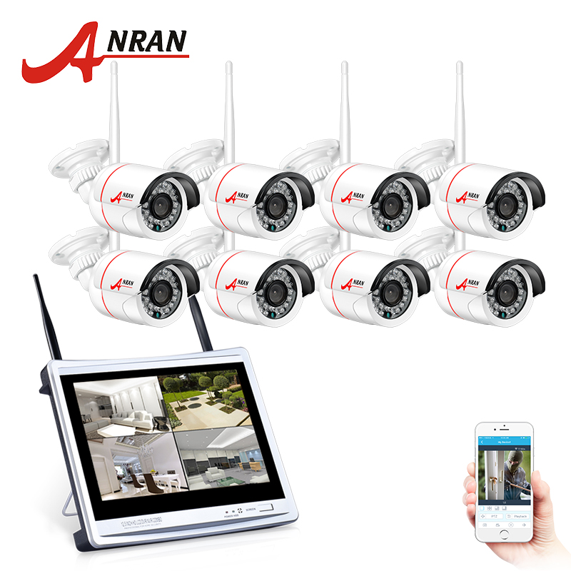 ANRAN Plug And Play 8CH Wireless Surveillance System 12LCD NVR 720P HD H.264 Outdoor IP IR Night Vision Security Camera система видеонаблюдения anran security 2 hdd 8 nvr onvif 1080p hd h 264 ir ip 8ch hk02w ip2 0 4
