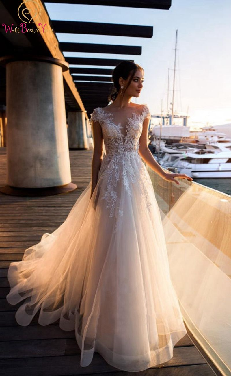 Scoop Neck Elegant Long Bridal Gowns Simple Floor Length Ivory White A Line Short Sleeve Princess Soft Lace Formal Wedding Dress